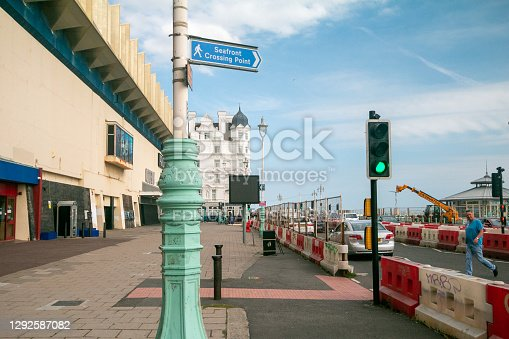 Seafront Crossing Point in Brighton, England, with people visible in the background
