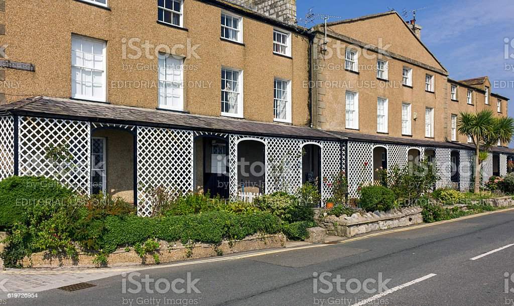 Seafront Houses, Beaumaris, Anglesey, North Wales stock photo