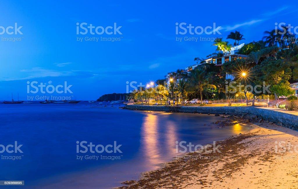 Seafront in Buzios at night, Rio de Janeiro stock photo