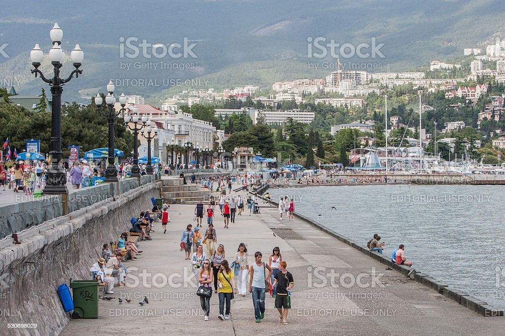 Seafront in Yalta city stock photo