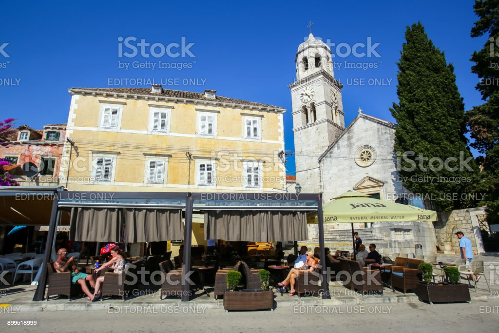 Seafront of small town Cavtat stock photo