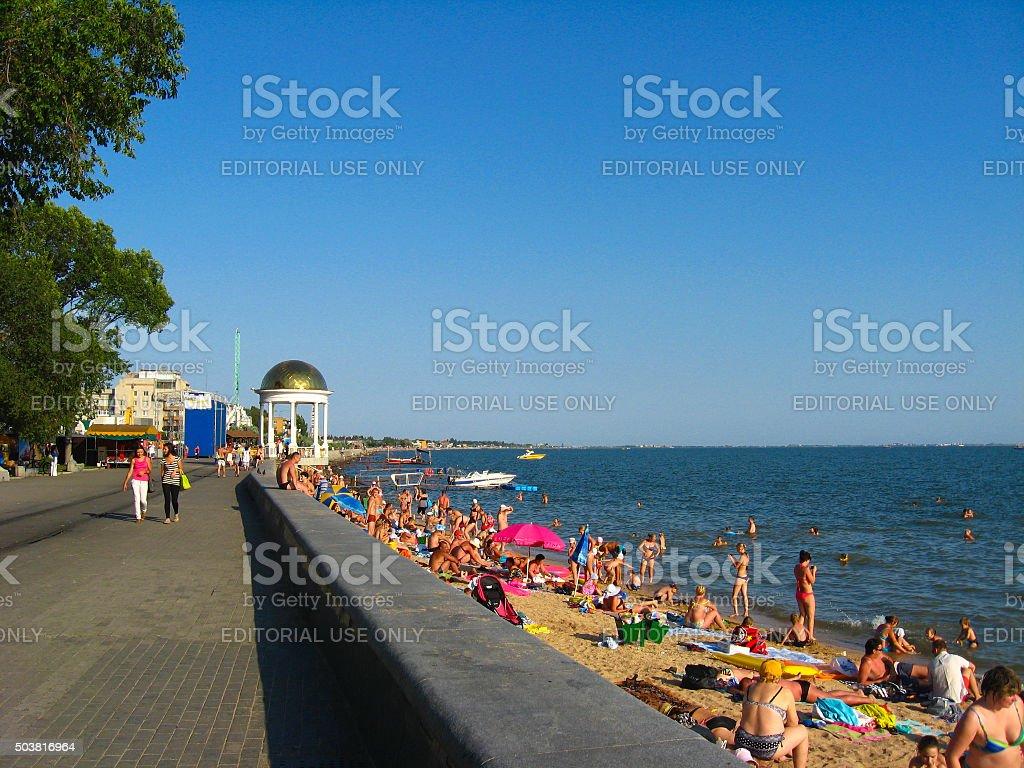 sea-front of the Azov sea in Berdyansk stock photo