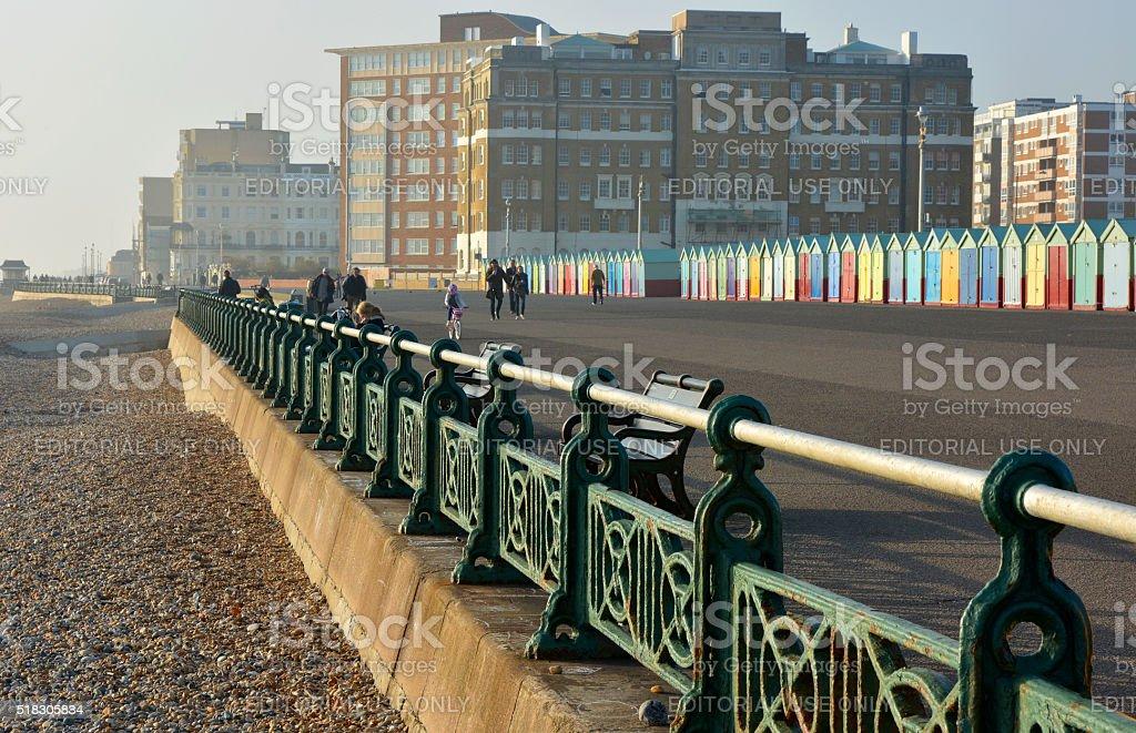 Seafront promenade at Brighton, England stock photo