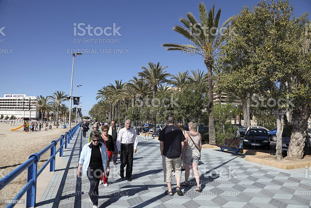 Seafront promenade in Alicante, Spain royalty-free stock photo