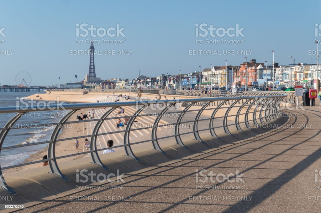 Seafront railing on the seafront in Blackpool stock photo