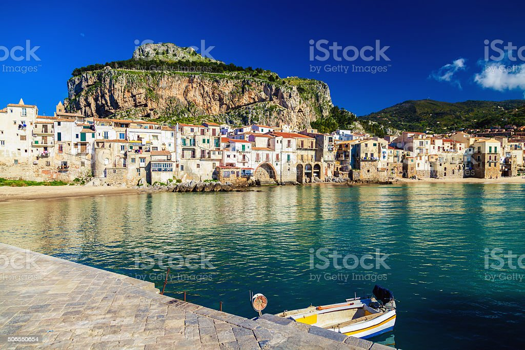 sea-front view of Cefalu stock photo