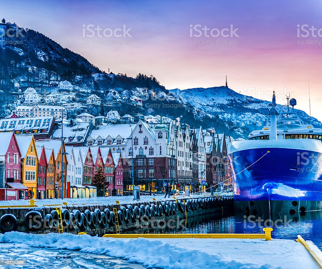 Seafront with ships in winter Bergen stock photo