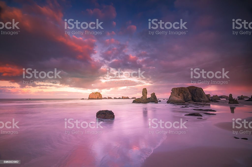 Seagull standing on beach with seastacks and colorful clouds royalty-free stock photo