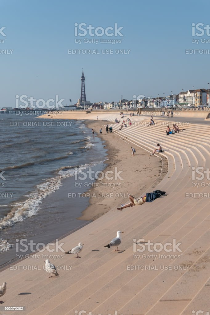 Seagulls and tourists sunbath and play in the sea in Blackpool stock photo