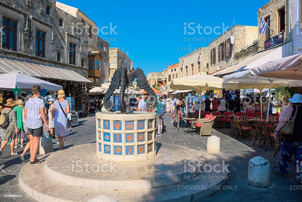 Seahorses fountain. Rhodes, Greece stock photo