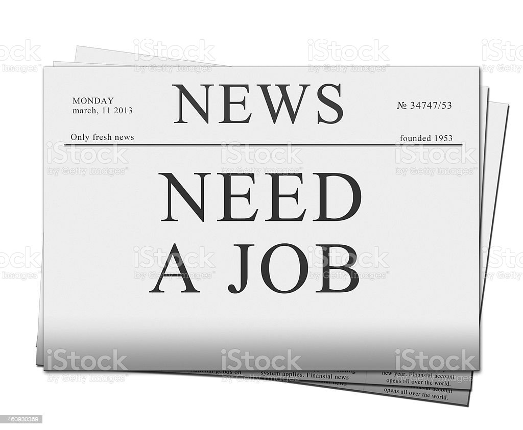 seaking for job  newspapers royalty-free stock photo