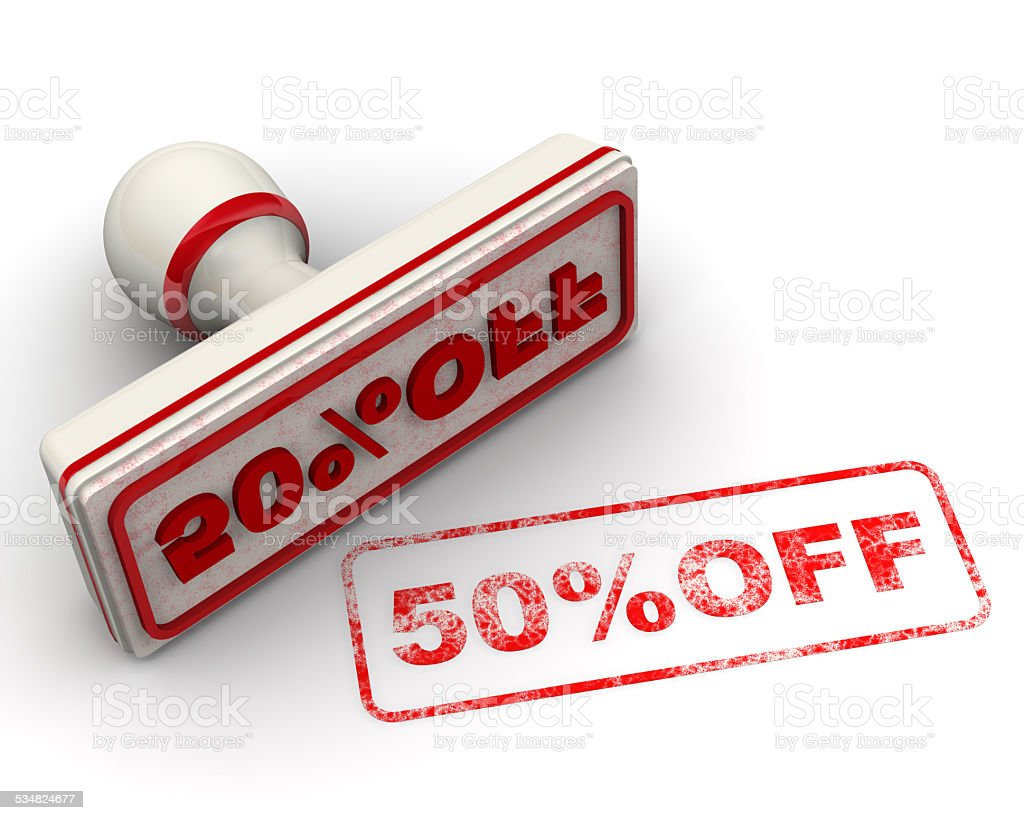50% OFF. Seal and imprint stock photo