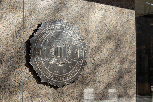 Seal of the Federal Bureau of Investigation (FBI) outside their headquarters in Washington, D.C.