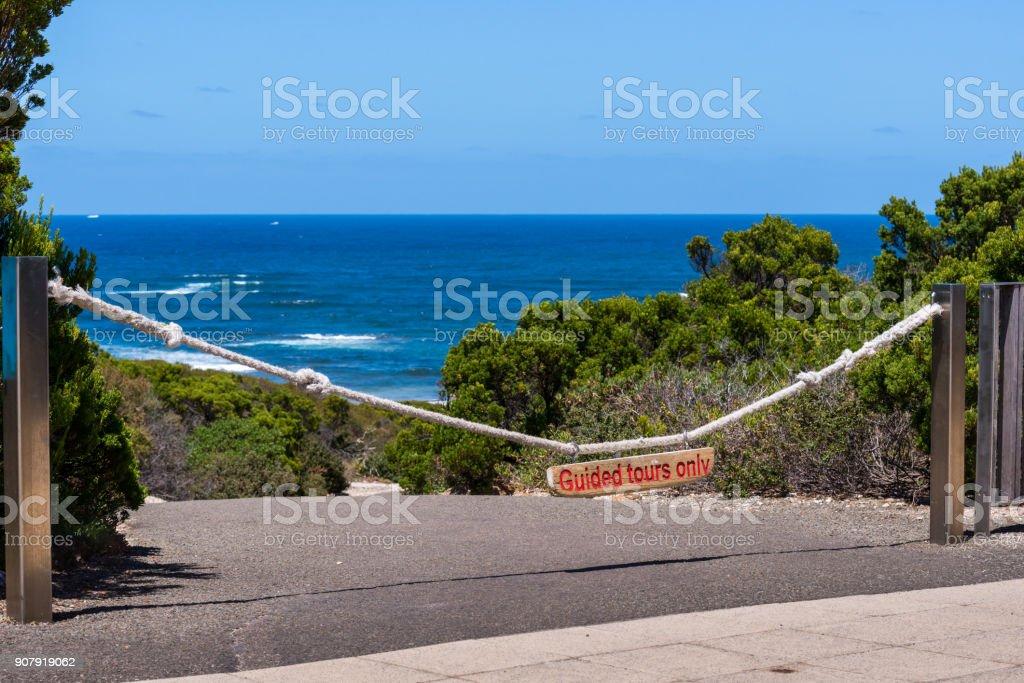 Seal Bay Kangaroo Island, do not enter sign stock photo