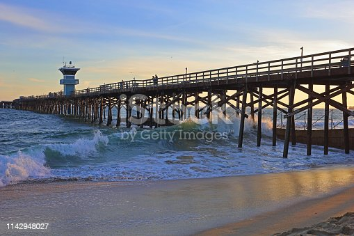 Seal Beach, CA pier at sundown