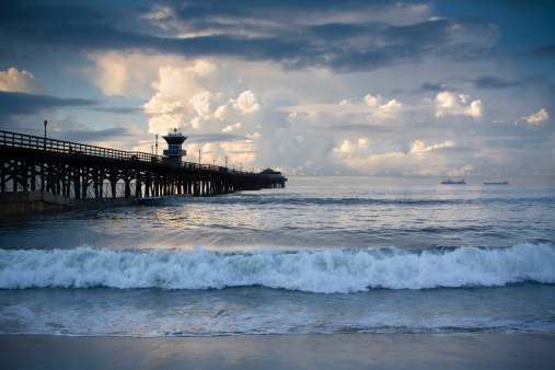 The Seal Beach Pier on a stormy Thanksgiving morning.