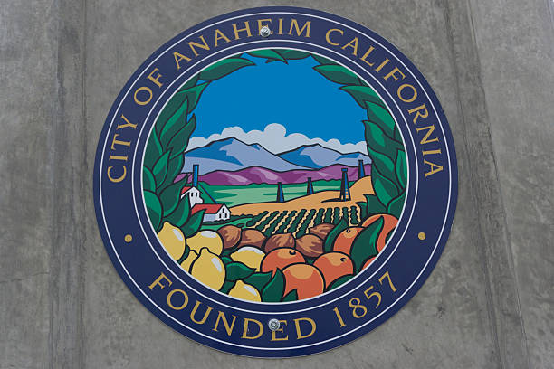Seal of City of Anaheim stock photo