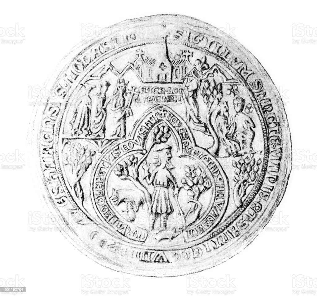 Seal of Evesham Abbey stock photo