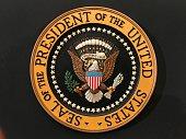 アメリカ大統領の紀章。会見などで使用される.。Seal of the President of the United States