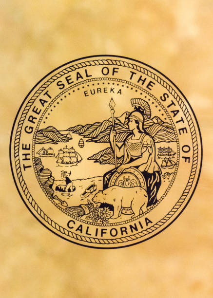 seal of the state of california - stamper stock photos and pictures
