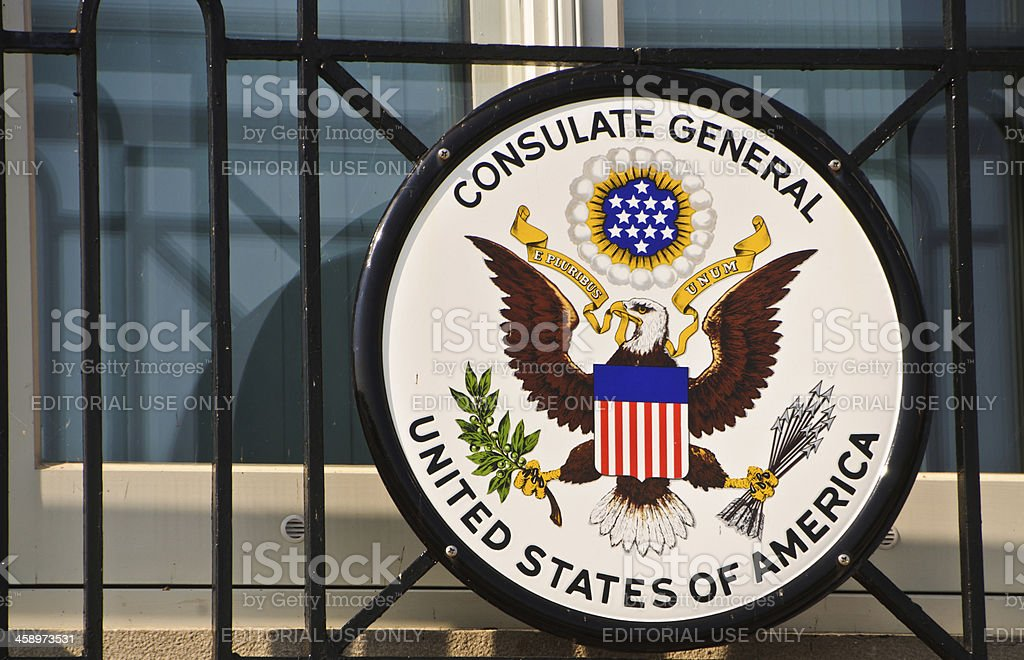 Seal of The United States Consulate General stock photo