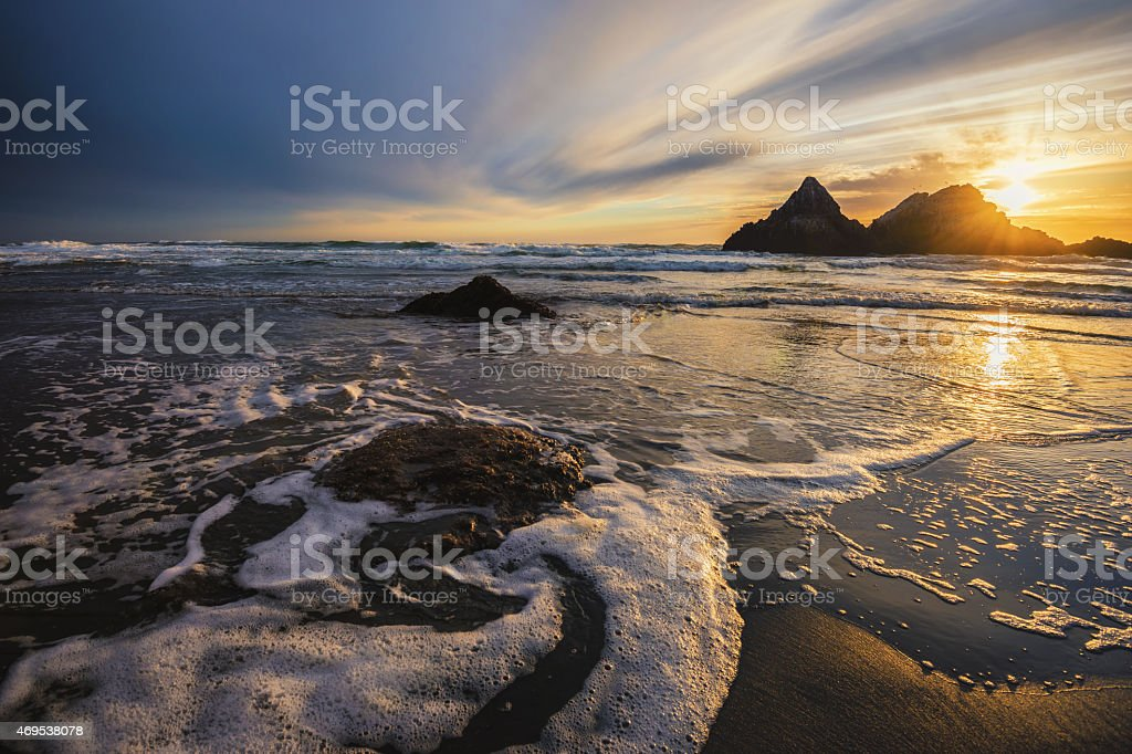 Seal Rock at Sunset in San Francisco California stock photo