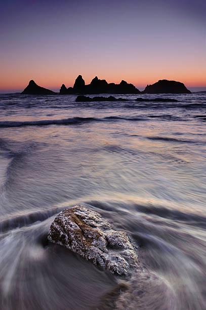 Seal rock, Oregon Coast at Sunset stock photo