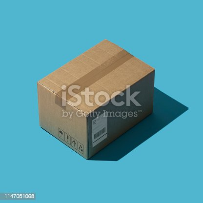 Sealed cardboard delivery box: shipment, deliver and logistics concept