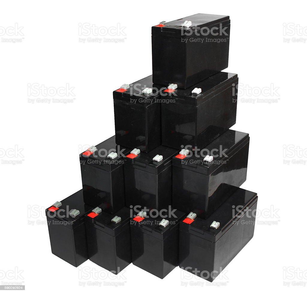 Sealed lead acid batteries isolated on white background royaltyfri bildbanksbilder