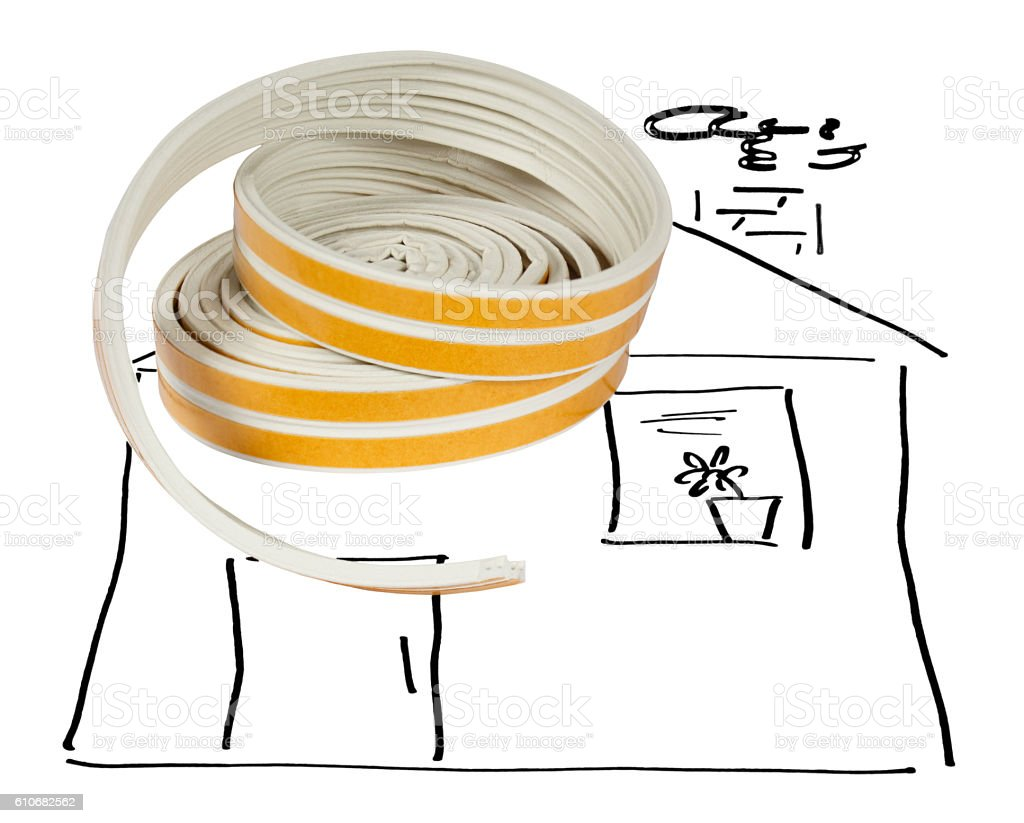 Sealing tape for Windows and doors in a roll stock photo