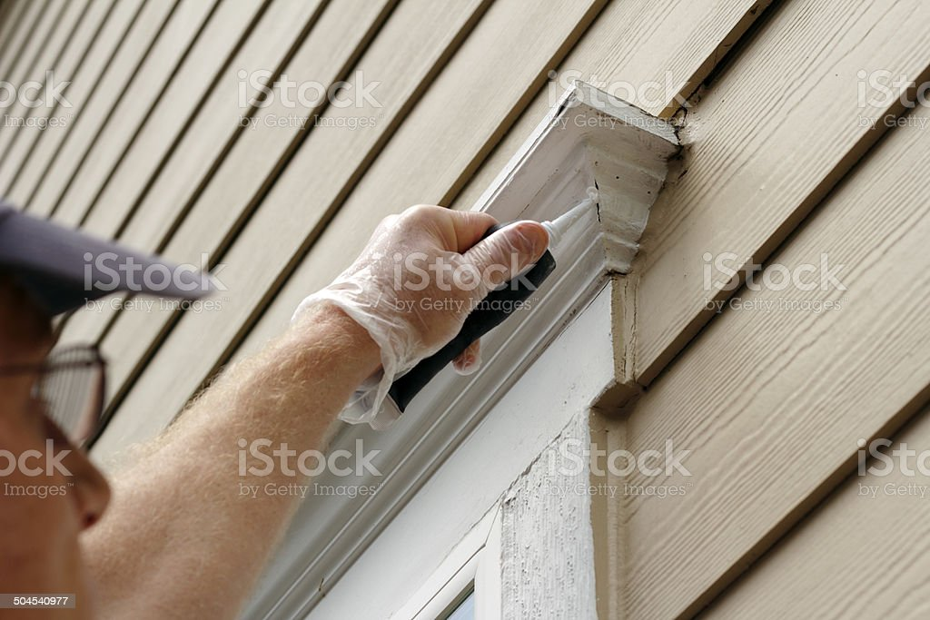 Sealing Window Leaks stock photo
