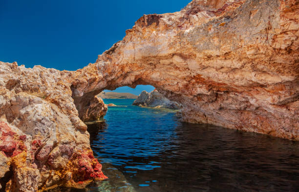 Seal's cave on Lemnos island, Greece stock photo