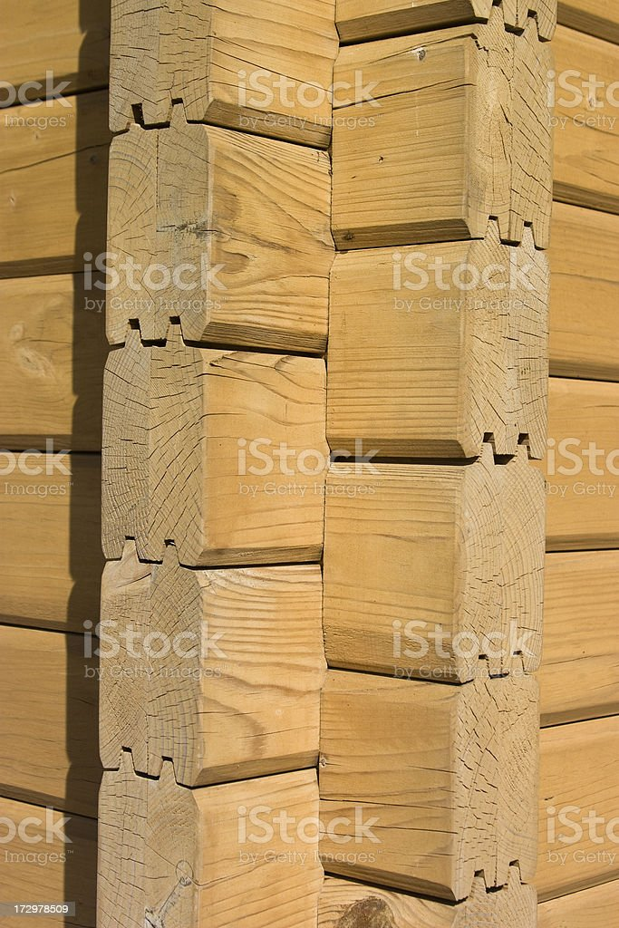 Seam of a wooden house stock photo