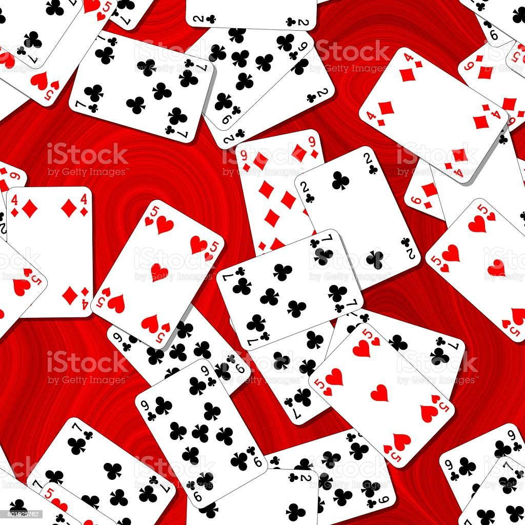 seamles background playing cards scattered on red table stock photo