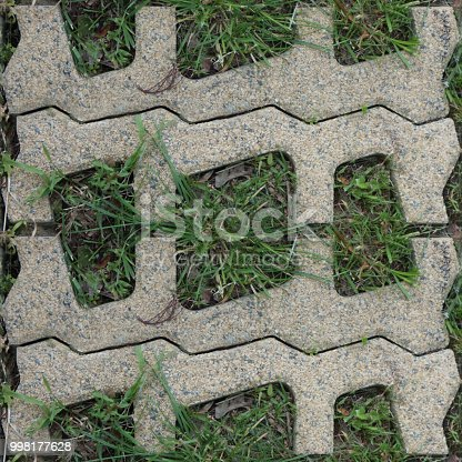 Seamless pattern with stone blocks of the original form on a park path covered and green grass