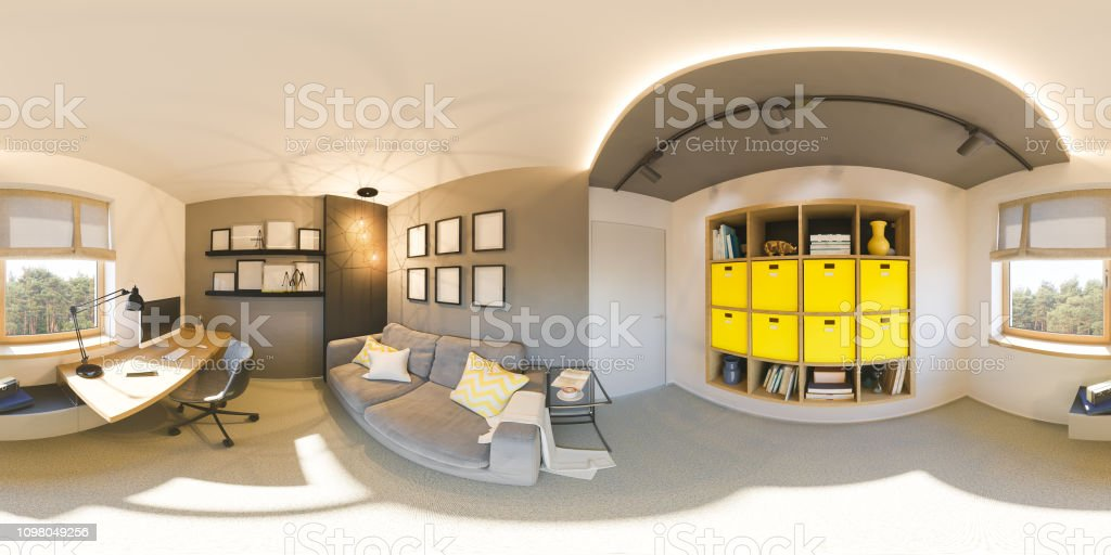 Seamless 360 vr home office panorama. 3d illustration of modern apartment interior design stock photo