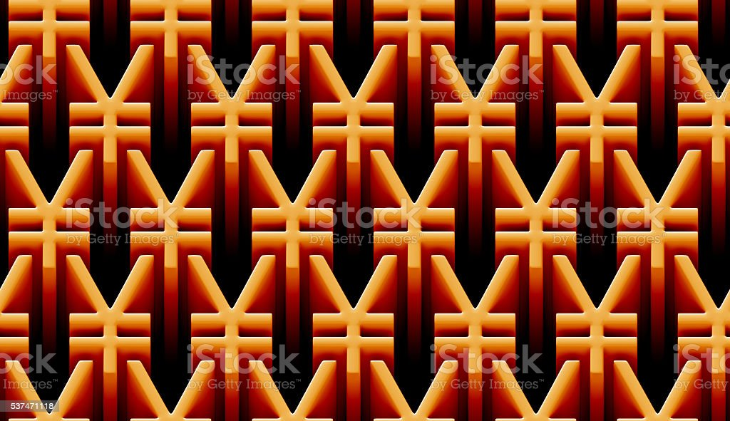 seamless 3d pattern of golden yen signs stock photo