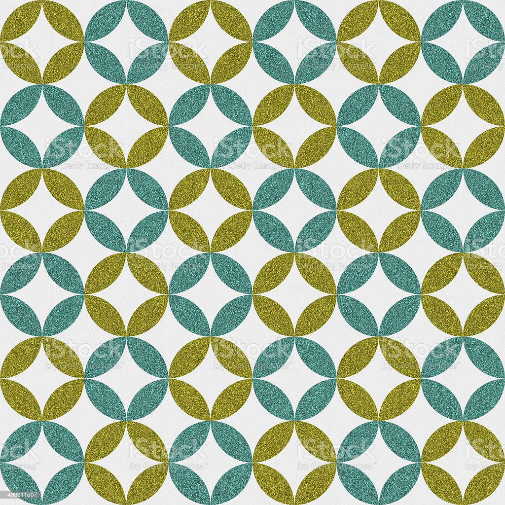 Seamless 60's inspired geometric circle and star pattern on paper stock photo