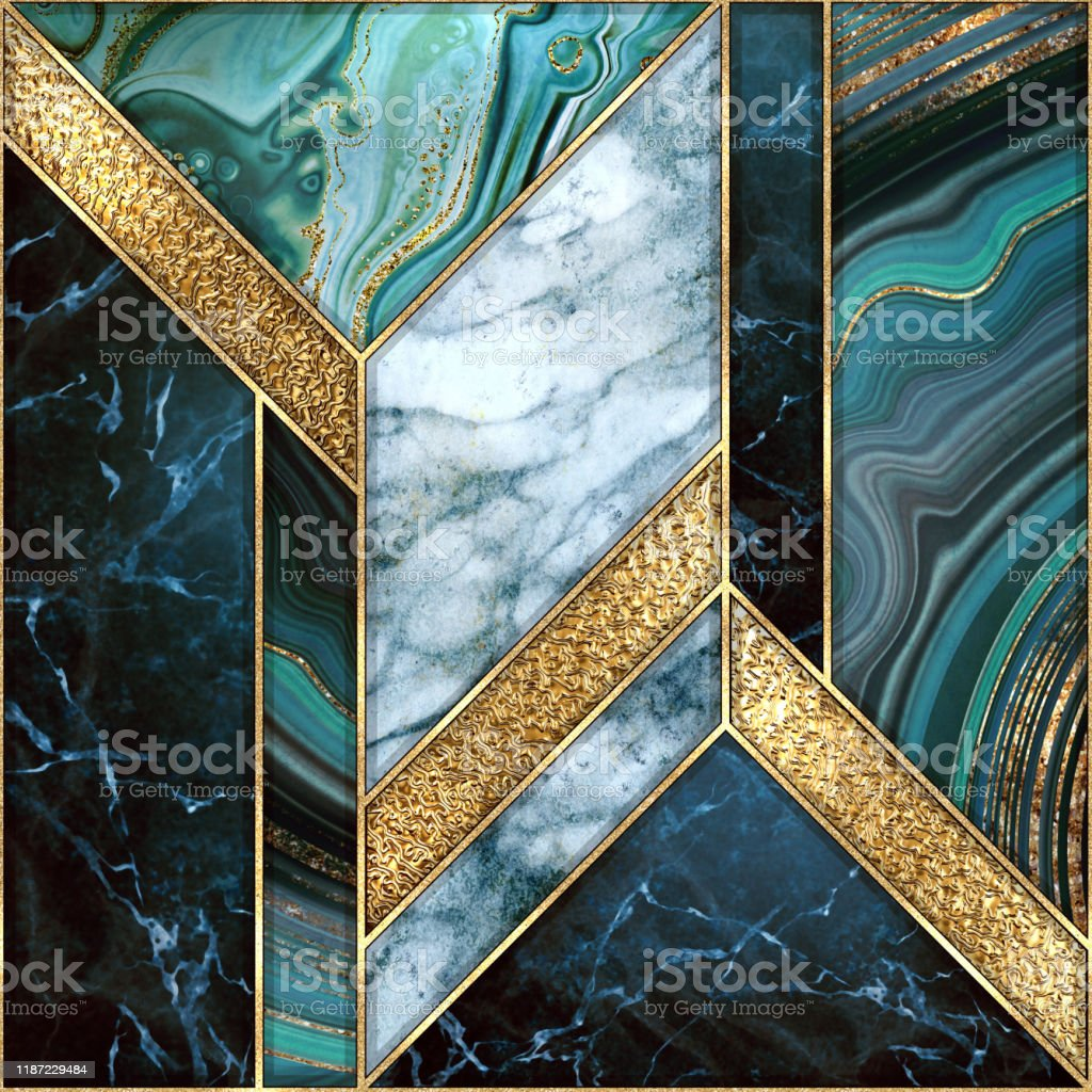 Seamless Abstract Background Modern Marble Agate Gold Mosaic Art Deco Wallpaper Artificial Stone Texture Blue Green Marbled Tile Geometrical Fashion Marbling Illustration Stock Photo Download Image Now Istock