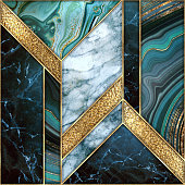 seamless abstract background, modern marble agate gold mosaic, art deco wallpaper, artificial stone texture, blue green marbled tile, geometrical fashion marbling illustration