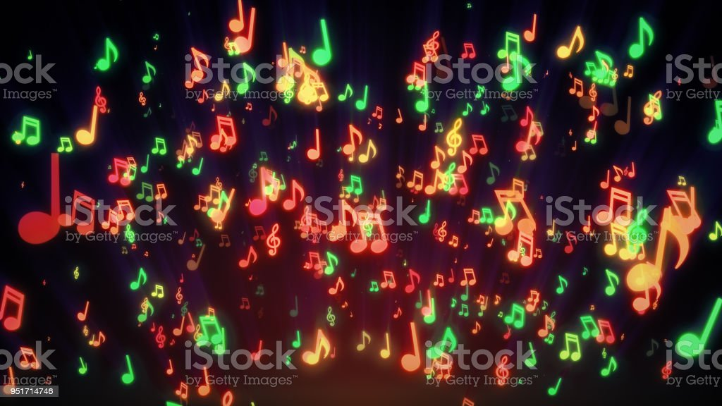 Seamless animation of colorful musical notes for music videos, LED screens and projections at night clubs, concerts, festival, exhibition, celebration, wedding and fashion events. 3d illustration stock photo