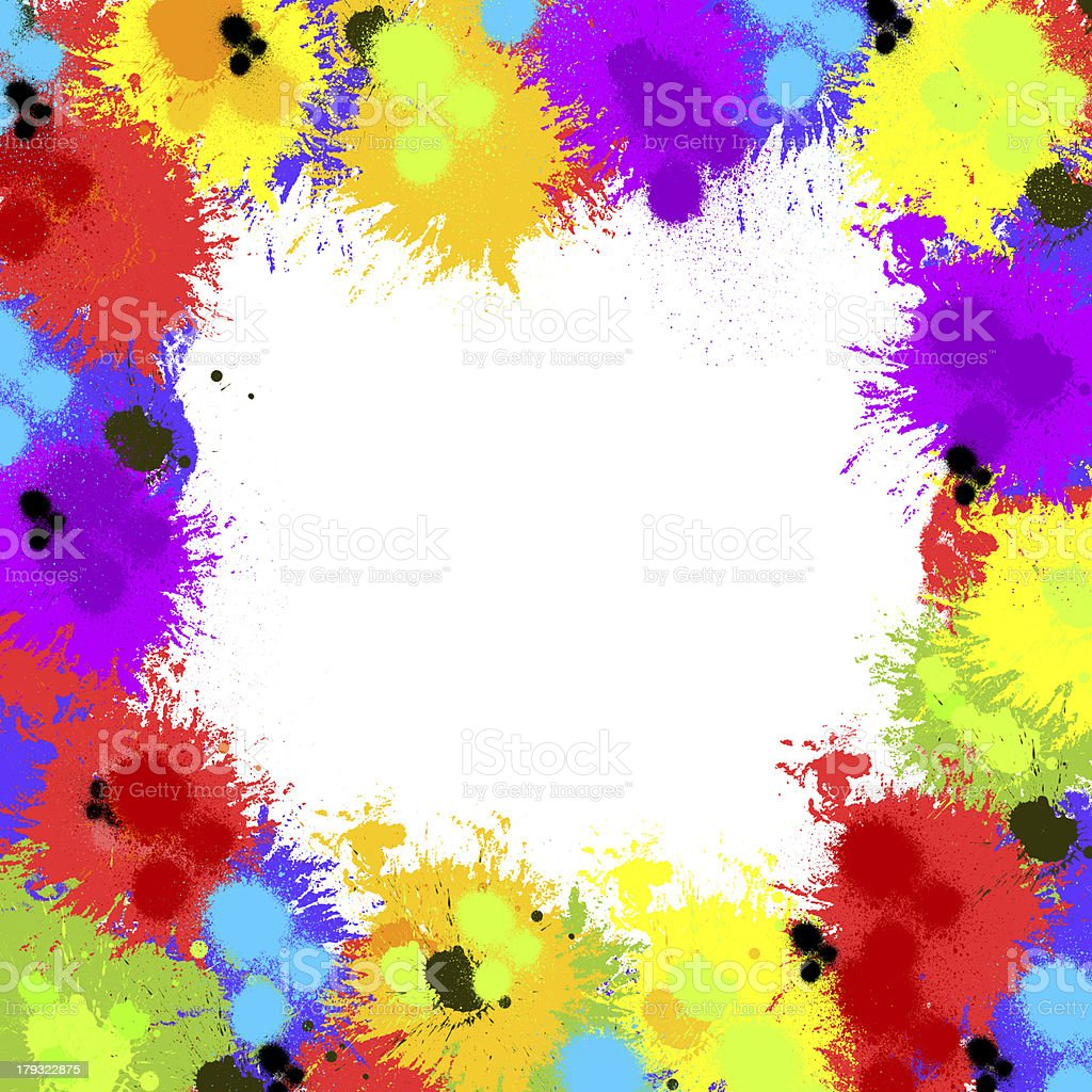 Seamless background with color ink spots, frame for text royalty-free stock photo