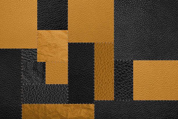 seamless, black and yellow gold patch pattern texture background - patchworkstoffe stock-fotos und bilder