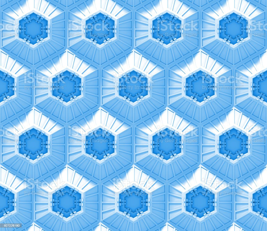 seamless blue tech background with hexagon based shapes (3d illustration) stock photo