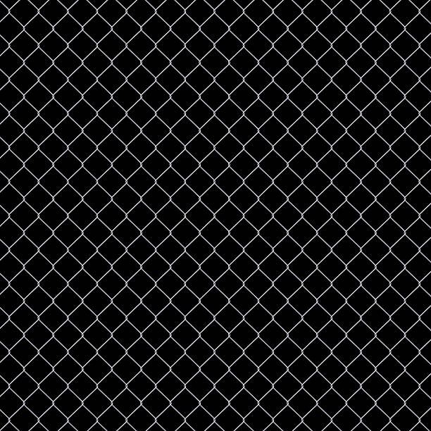 Seamless Chainlink Fence isolated on black background XXXL stock photo