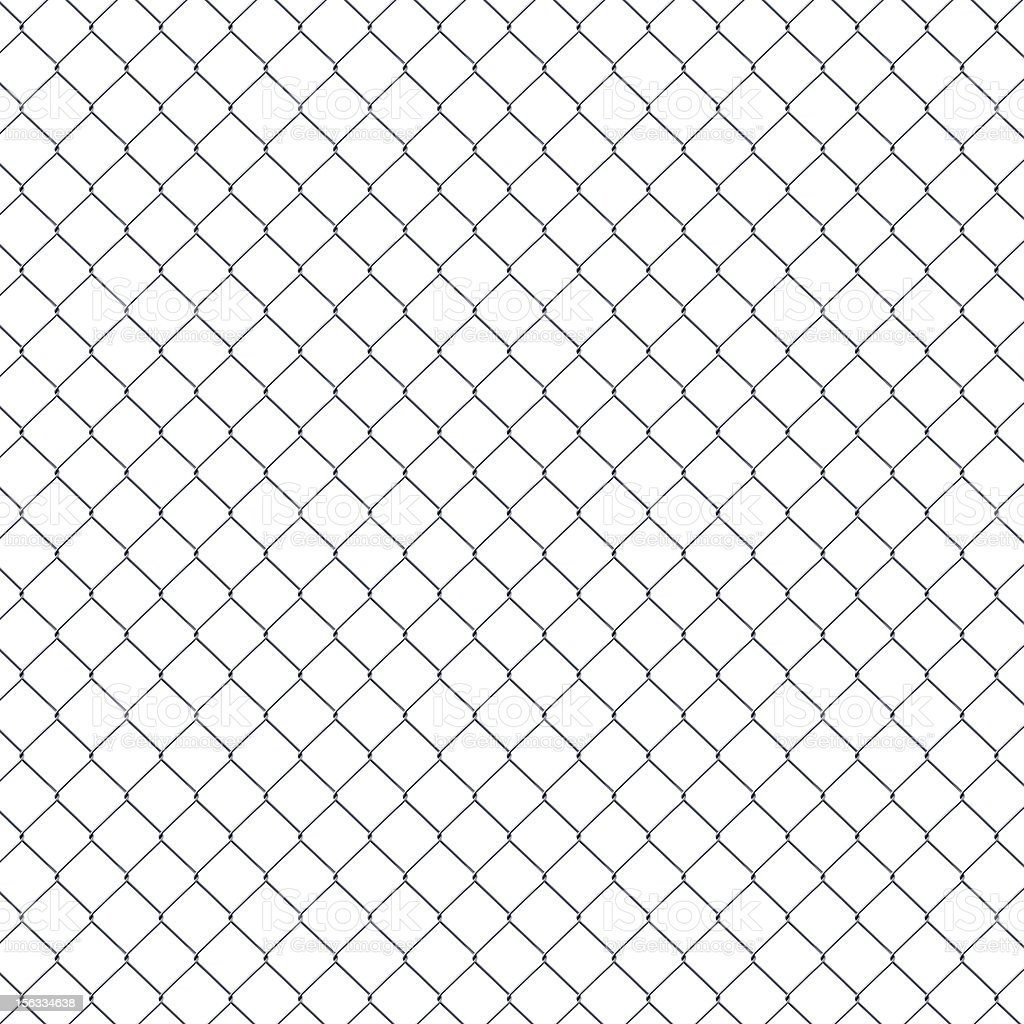 Seamless Chainlink Fence isolated on white background XXXL stock photo