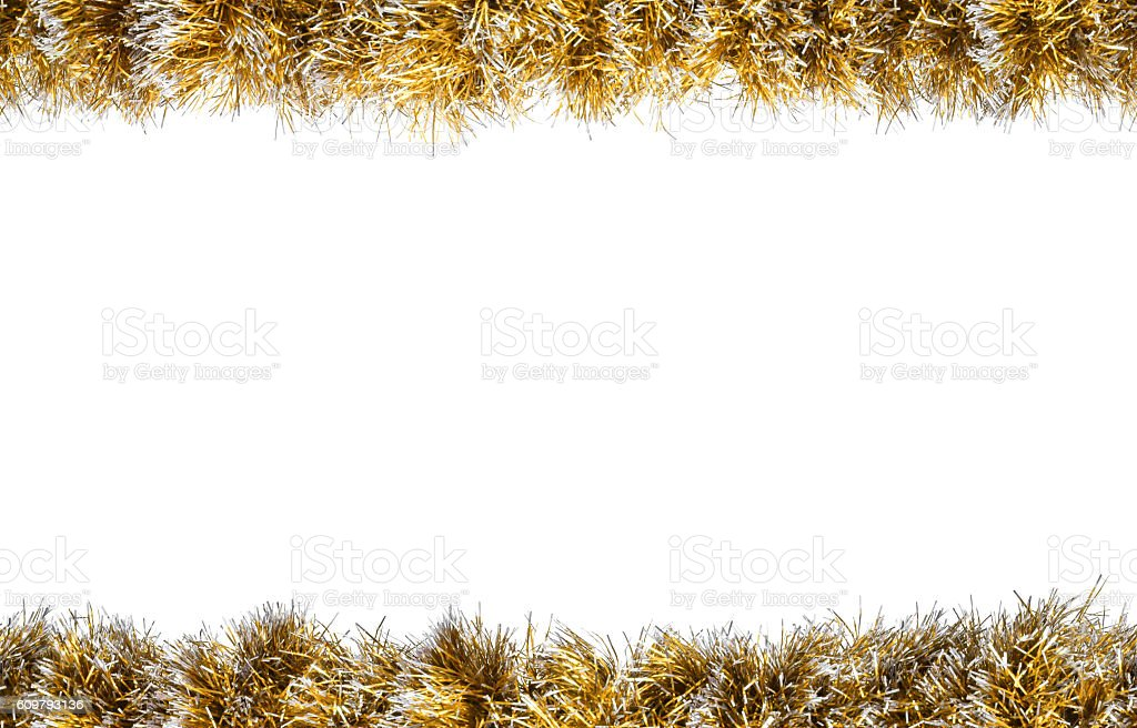 Seamless Christmas gold silver tinsel frame stock photo