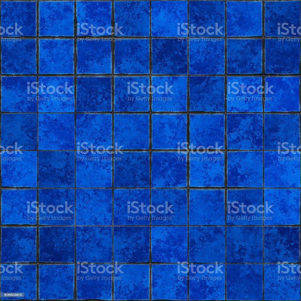 Seamless digitally created blue clay tile pattern stock photo