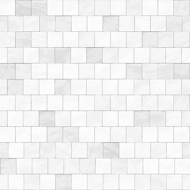seamless digitally created white tile pattern - tile stock photos and pictures