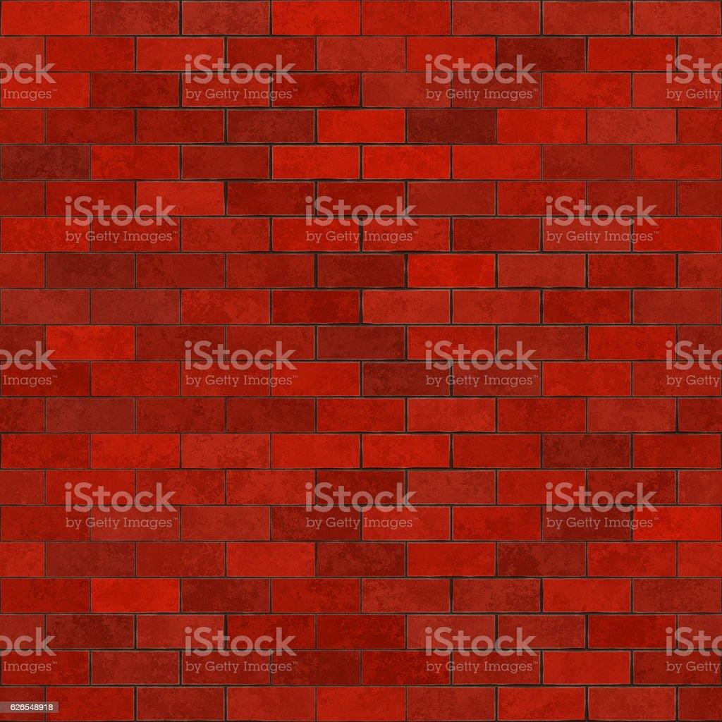 Seamless digitally generated non-realistic dark red bricks stock photo